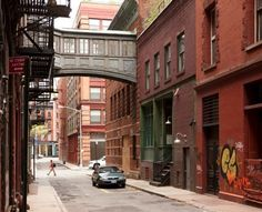 Street in Tribeca. Outside architect Diana Kellogg's home in a former cold-storage warehouse. I like the light fixtures.