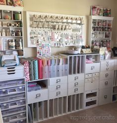 Scrapbooking storage cubes and craft room organization. So beautiful and so many. Scrapbooking storage cubes and craft room organization. So beautiful and so many supplies! Scrapbook Storage, Scrapbook Organization, Craft Organization, Scrapbook Rooms, Scrapbooking Layouts, Organizing Tips, Bathroom Organization, Craft Room Storage, Cube Storage