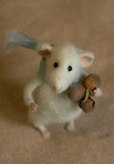 The mouse that comes out of the teacup - Stuffed Animals by Natasha Fadeeva - mouse holding nuts