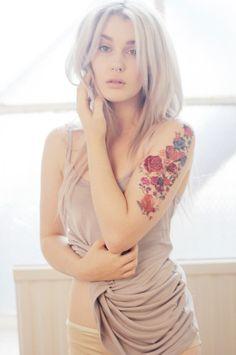 flower watercolor tattoos, girls arms tattoos, tattoo designs
