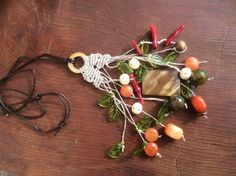 Macrame necklace Fall colors natural gemstone beads and carved bone