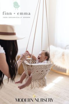 The Finn + Emma Macrame Swing is handmade by artisans in India. It will keep your little one entertained and look beautiful in any room in your home or in your yard! Cute Baby Pictures, Baby Gear, Cute Babies, Macrame, Organic Cotton, Nursery, Entertaining, Handmade, Yard