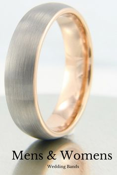 I love this 18K rose gold brushed tungsten wedding band. This makes a great wedding band for men or women. It comes in widths 8mm or 6mm.