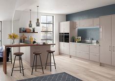 Oslo modern style replacement kitchen doors finished in gloss kashmir. Replacement Kitchen Doors, Gloss Kitchen, Kitchen Styling, High Gloss, Modern, It Is Finished, Table, Contemporary Kitchens, Furniture