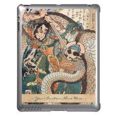 Utagawa Kuniyoshi suikoden hero fighting snake art Cover For iPad #Utagawa #Kuniyoshi #suikoden #hero #fighting #giant #snake #art #unique #customizable #japanese #accessories and #gifts from Zazzle #Japan #warrior #samurai #tale #legend #art #gift