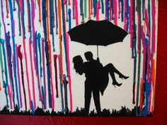 Handmade Encaustic Wax Painting - Couple in the rain