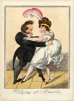 © The Trustees of the British Museum  Waltzing at Almack's.   George Cruikshank, [? 1817]  Hand-coloured etching