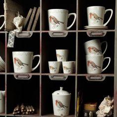 Grote #koffiemok met oor #roodborstje   large #coffee mug #robin   World Of Jet