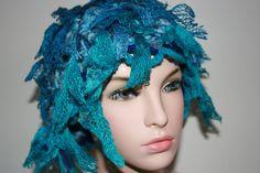 Freeform crochet hat wearable art OOAK by HatHut on Etsy