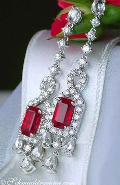 Ruby and Diamond Earrings - emerald-cut natural Burmese rubies - cttw - in 18 k white gold Ruby Jewelry, Ruby Earrings, Diamond Earrings, Fine Jewelry, Diamond Jewellery, Dangle Earrings, Bling Bling, Ring Armband, Jewelry Accessories