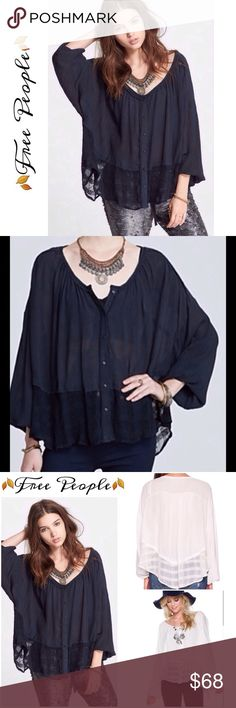 ❗️1 Hour Sale❗️HP🌟FP button front hi-lo blouse Washed look black, scoop neck with frayed edge trim, button front, long elastic cuff sleeves, lace hem, yolk back, hi- lo hem Free People Tops Blouses