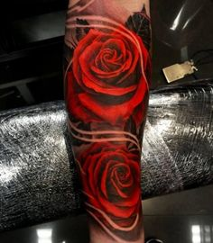 Tattoo two 3D rose flower big - http://tattootodesign.com/tattoo-two-3d-rose-flower-big/ | #Tattoo, #Tattooed, #Tattoos