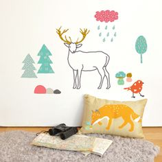 Sticker mural pour enfant Les animaux de la forêt Mimi Lou