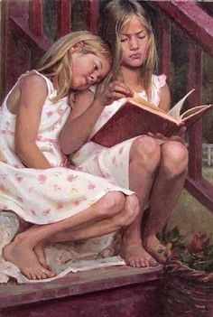 Summer Stories by Albin Veselka. - Before book reading was replaced by the intrusive internet & cellphones. Reading Art, Woman Reading, Reading Books, I Love Books, Books To Read, People Reading, Children Reading, Illustration Photo, Summer Story