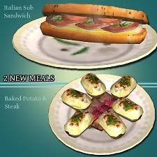 Mod The Sims - New Lunch & Dinner: Italian Sub & Baked Potato with steak