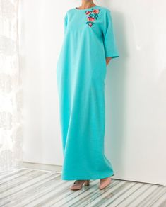 NEW SS16 Model Handmade embroidered turquoise linen Maxi dress, Maxi dress, Caftan, Abaya, Plus size dress, Plus size clothing, Summer Dress