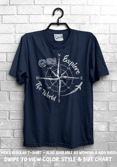 5c1c5840 Explore The World Compass T-Shirt - Travel Adventure Camping Plane Journey  Nature Outdoors Live Life Tee Mens Womens Kid Graphic By Kyandii