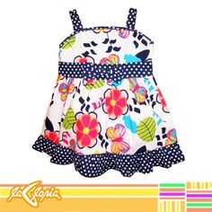 #Vestido de #tirantes para #niña, diseño de #flores divertidas #bebe #ReciénNacidos