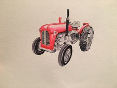 35 tractor vintage watercolour zig clean colour real brush