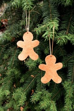 Brown leather Gingerbread Christmas decorations. For your Christmas tree or as home decor.