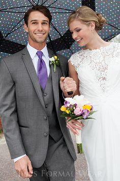 The Stephen Geoffrey Aspen shown with a matching fullback vest and purple Herringbone Windsor tie.  from Jim's Formalwear