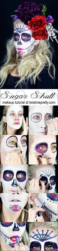 A gorgeous sugar skull makeup tutorial. This is very indepth and easy enough for beginners! Checkout the video tutorial at Twist Me Pretty