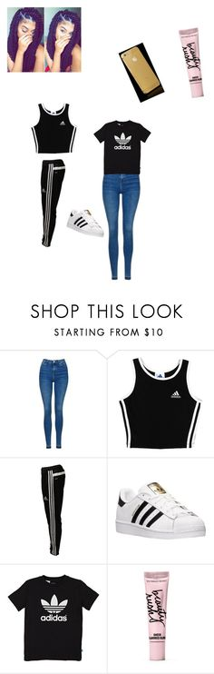 """Untitled #357"" by lailazariel ❤ liked on Polyvore featuring Topshop, adidas, adidas Originals and Beauty Rush"