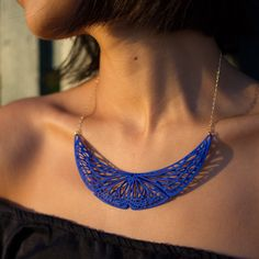 Royal Blue Butterfly Necklace Large / 3D Printed by ANNXANNXDESIGN.Join the 3D Printing Conversation: http://www.fuelyourproductdesign.com/