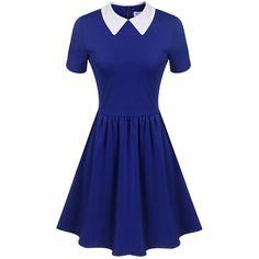 Women's Casual Short Sleeve Doll Collar Dress Peter Pan Collar Work... ❤ liked on Polyvore featuring dresses, short-sleeve dresses, baby doll dress, collared babydoll dress, short sleeve dress and blue peter pan collar dress