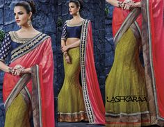 Lemon Green and Red Net and Georgette Lehenga Saree
