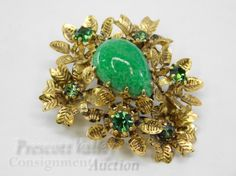 Vintage Gold Tone Austrian Crystal and Glass Pin Brooch
