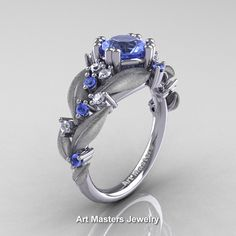 Nature Classic 14K White Gold 1.0 Ct Natural Light Blue Sapphire Diamond Leaf and Vine Engagement Ring R340S-14KWGDLBS | Art Masters Jewelry