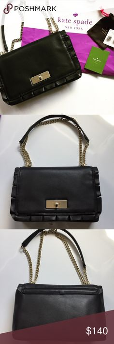 "Kate Spade Danbury Street Daniella EXCELLENT CONDITION! Beautiful handbag in soft black leather w/ 14-karat gold plated hardware. Ruffles at the front flap are adorable! The lock is a turn-lock. Dimensions: 10.5L x 2.5W x 7.5H. Shoulder strap: 19."" Handbag has signature kate spade lining & includes 1 side and 1 zip pockets. Flawless w/ the exception of very minuscule scratches on gold plate. Barely noticeable. No stains or tears. Only used once. Comes w/ care card. ASK QUESTIONS PRIOR TO…"