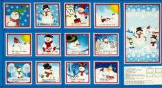 Snowman Story Soft Book Panel Fabric