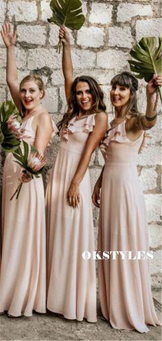 A-line Spaghetti Straps V-neck Long Chiffon Bridesmaid Dresses With Ruffless, BD0640#bridesmaids #bridesmaiddress #bridesmaiddresses #dressesformaidofhonor #weddingparty #2020bridesmaiddresses Mismatched Bridesmaid Dresses, Bridesmaids, Wedding Dresses, Pink Wedding Colors, Custom Dresses, Dream Dress, Spaghetti Straps, Dress Making, Fashion Models