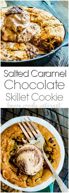 Salted Caramel Chocolate Skillet Cookie | This skillet cookie recipe is a chocolate chip cookie filled with rich creamy caramel, white chocolate chips, and salty, crunchy pretzels. It's baked in a cast iron skillet until everything melts together into a decadent cookie dessert topped with a couple of scoops of ice cream. This cast iron skillet dessert is an easy dessert recipe that the whole family will love. #ad #JOURNEYTOÄAH #HäagenDazs @haagendaz