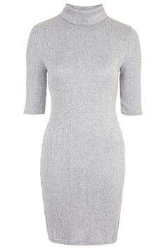 Ribbed Roll Neck Bodycon Dress