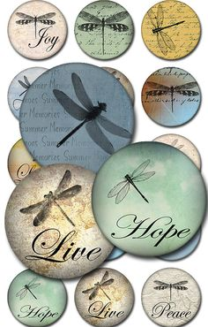 Dragonflies Round Inspirational Instant Download 1 by pixeltwister
