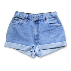 Vintage 90s Levi's Medium Blue Wash High Waisted Rise Cut Offs Cuffed... ($49) ❤ liked on Polyvore featuring shorts, bottoms, denim shorts, short, cut-off jean shorts, short shorts, denim cut-off shorts, cut off jean shorts and high-waisted shorts