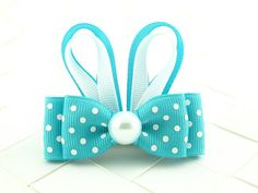 Turquoise Easter Bunny Hair Bow Sculpture