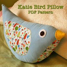 This bird pillow makes a really nice baby shower gift! I chose fabric with interesting textures to make them.