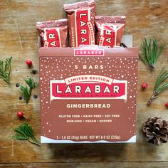 Gingerbread Larabars are delicious bars made with just fruits, nuts & spices. Cinnamon, ginger, and allspice bring the zing, and a splash of vanilla guarantees a smooth finish. Break out the cookie cutters - Gingerbread is in season! These gl Snacks For Work, Healthy Work Snacks, Kosher Snacks, Fruit And Nut Bars, Snack Brands, Lara Bars, Gluten Free Treats, Zine, Pumpkin Spice