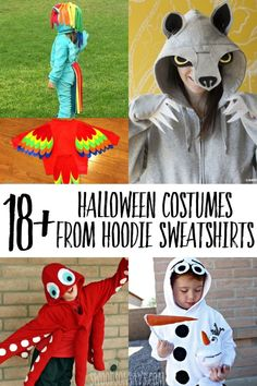 Sewing Crafts For Children The is coming up soon - check out this list of costumes you can make with a hooded sweatshirt! From no sew to more intricate designs, this list is sure to have a creative hoodie Halloween costume idea for everyone: Halloween Costume Sewing Patterns, Halloween Costumes To Make, Halloween Party Supplies, Halloween Crafts For Kids, Halloween Kostüm, Halloween Costumes For Kids, Kids Crafts, Hallowen Ideas, Sewing Projects