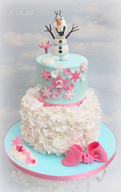 Frozen  Olaf birthday ruffle cake  by Lynette Brandl