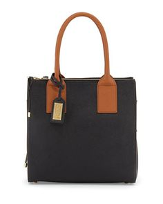 Jillian Two-Tone Sectioned Tote Bag, Black/Cognac by Badgley Mischka at Neiman Marcus Last Call.