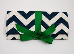 AO3 Designs- Teal Chevron Stripe with Emerald clutch... She can even do a b/w one with green bow!!!!!