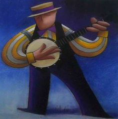 Man Playing Banjo by George Callaghan ~ Pastel on paper ~ George Callaghan ~ George Callaghan was born in Country Antrim, Northern Ireland in 1941 but spent most of his childhood in South Africa.~ He has now retired and lives in Lherm, France ~ Callaghan attended the Belfast College of art from 1961 to 1965 ~ Music is a great influence as he plays harp, guitar and sings. The musician appears often in his works.