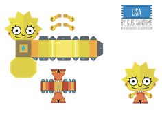 Blog Paper Toy papertoys Simpsons Lisa template preview Papertoys Simpsons de Gus Santome (x5)