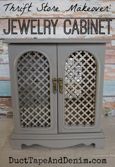 Thrift Store Makeover Gray Jewelry Cabinet | DuctTapeAndDenim.com