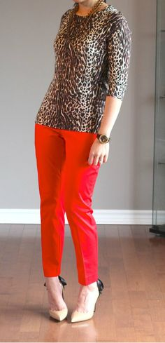 Fall work look: leopard j crew tippi sweater and red pants (gap slim cropped refined pants)